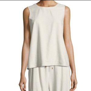 Eileen Fisher ivory bone 100% silk sleeveless top